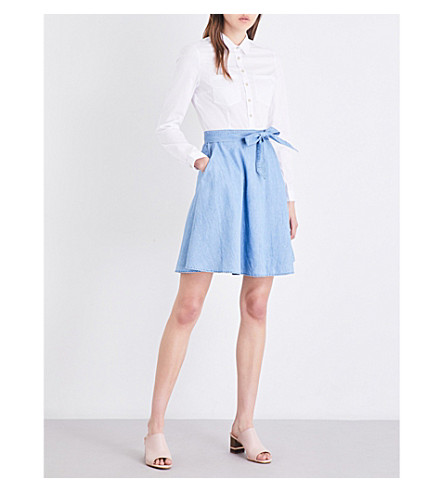 FRENCH CONNECTION Hennessy self-tie poplin and denim dress