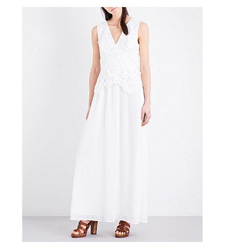 FRENCH CONNECTION Manzoni floral lace and georgette maxi dress (Summer+white