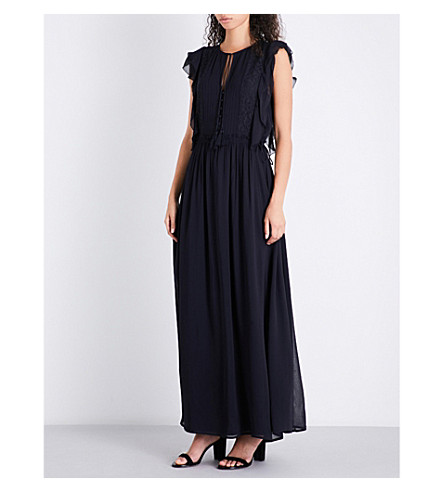 FRENCH CONNECTION Sophie lace and georgette maxi dress (Navy
