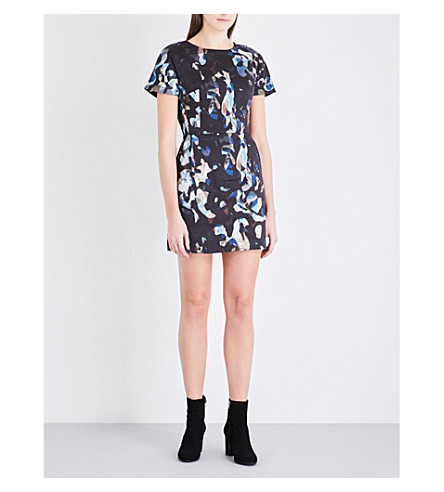 FRENCH CONNECTION Abstract-print stretch-cotton dress (Black+multi