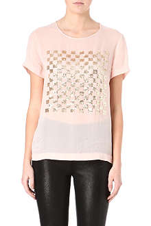 FRENCH CONNECTION Check Mate sequinned top