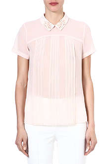 FRENCH CONNECTION Embellished-collar pleated top
