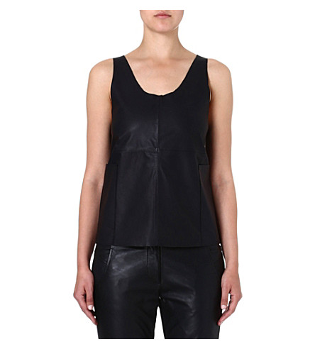 FRENCH CONNECTION Jet leather top (Black