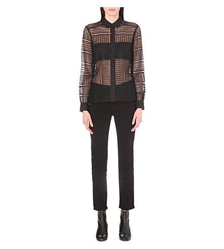 FRENCH CONNECTION Summer Cage Lace shirt (Black
