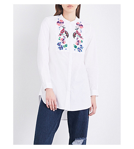 FRENCH CONNECTION Rothko floral-embroidered cotton-poplin shirt (White