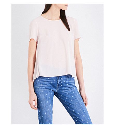 FRENCH CONNECTION Pleated crepe top (Capri+blush