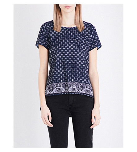 FRENCH CONNECTION Altman floral-print crepe top (Indigo+multi
