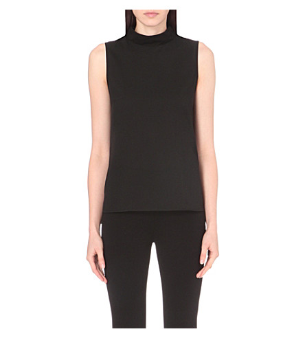 FRENCH CONNECTION Polly Plains mock-neck jersey top (Black