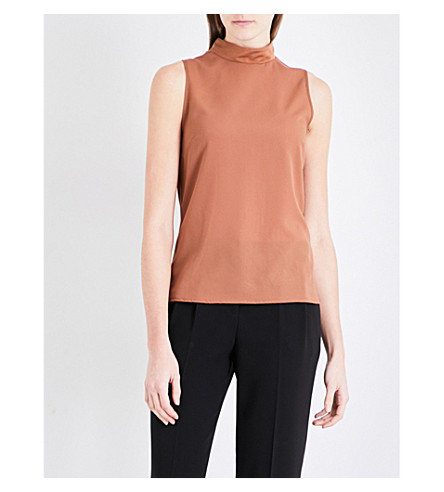 FRENCH CONNECTION Mock-neck chiffon and jersey top (Terra+tan