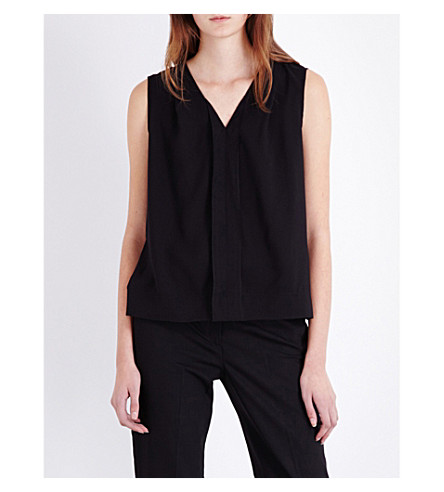 FRENCH CONNECTION Polly Plains woven and jersey top (Black