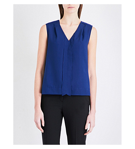 FRENCH CONNECTION Polly Plains crepe and jersey top (Blue+depths
