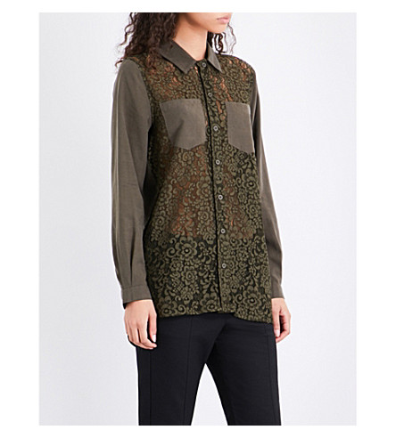 FRENCH CONNECTION Marian lace-front woven shirt (Dusty+olive