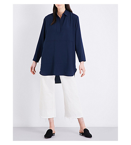 FRENCH CONNECTION Aggy dropped shoulder crepe shirt (Nocturnal
