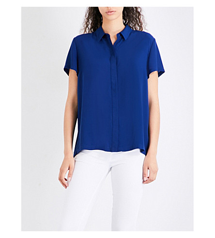 FRENCH CONNECTION Pleated crepe shirt (Blue