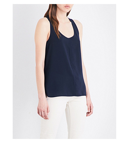 FRENCH CONNECTION Clee crepe and jersey top (Navy