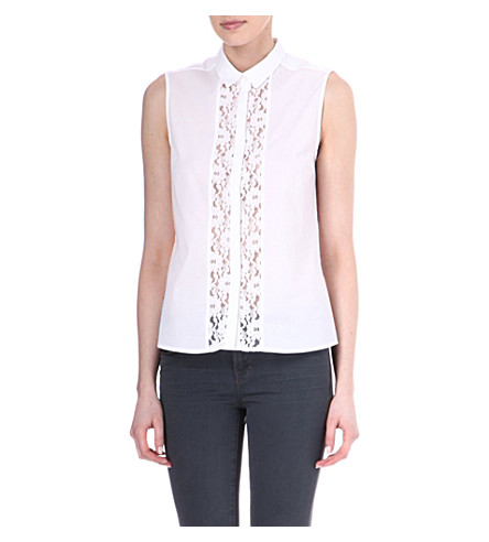 FRENCH CONNECTION Fresh sleeveless shirt (White/white lace