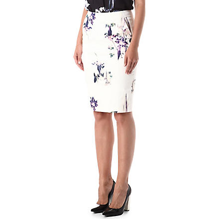 FRENCH CONNECTION Water Flower pencil skirt (White