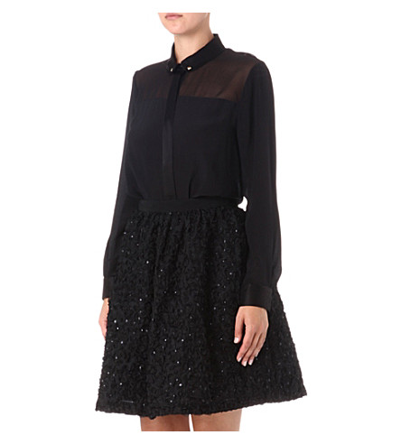 FRENCH CONNECTION Rochelle ribbon flared skirt (Black