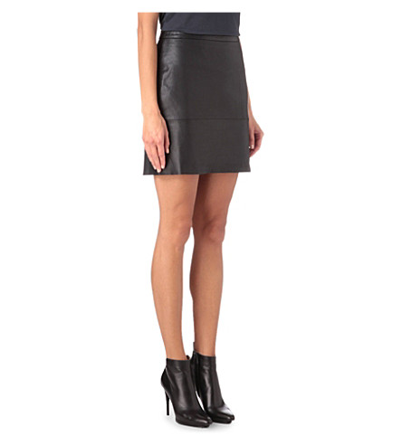 FRENCH CONNECTION Jet leather skirt (Black
