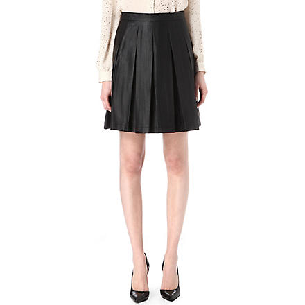 FRENCH CONNECTION Roller girl faux-leather pleated skirt (Black