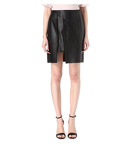FRENCH CONNECTION Nevada leather skirt (Black
