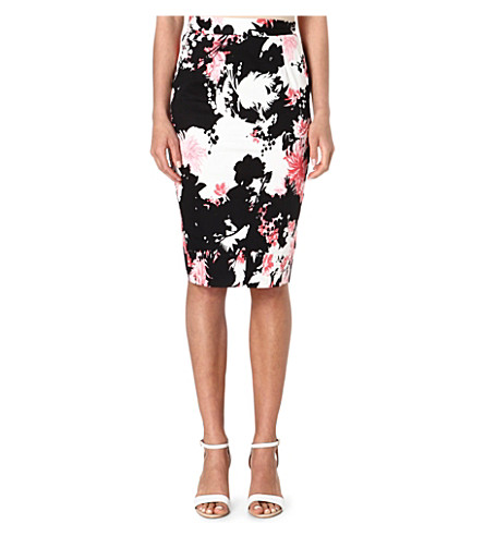 FRENCH CONNECTION Fast belle garden stretch-cotton pencil skirt (Black/white/pink