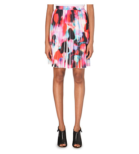 FRENCH CONNECTION Miami abstract-print crepe skirt (Keywest coral multi