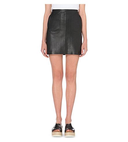 FRENCH CONNECTION Jetson leather skirt (Black