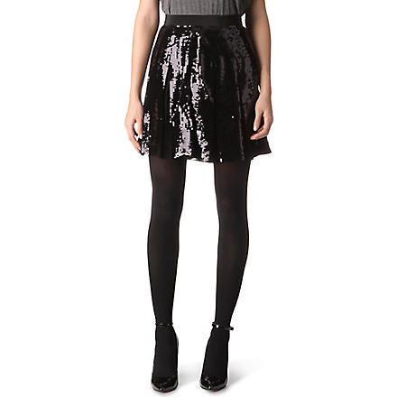 FRENCH CONNECTION Glacier sequinned skirt (Black/black+sequins
