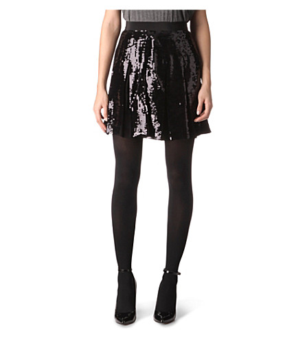 FRENCH CONNECTION Glacier sequinned skirt (Black/black sequins