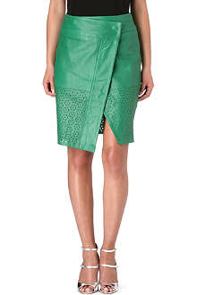 FRENCH CONNECTION Lucille leather wrap skirt