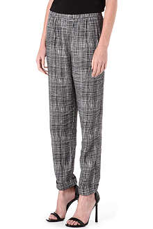 FRENCH CONNECTION Texture check peg-leg trousers