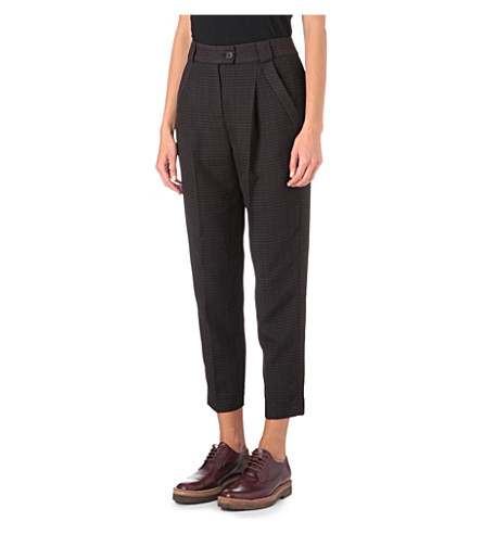 FRENCH CONNECTION Checked trousers (Oxblood/blk hanger