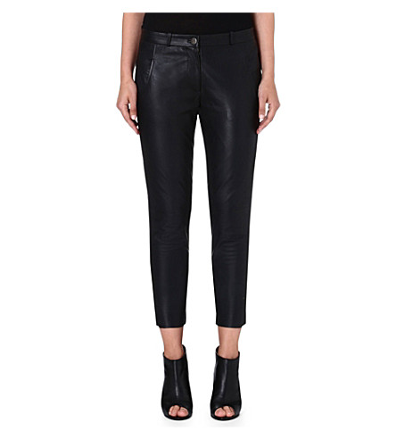 FRENCH CONNECTION Jet leather trousers (Black