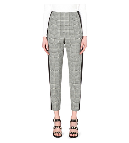 FRENCH CONNECTION Empire high-rise cropped crepe trousers (Black+multi/blk
