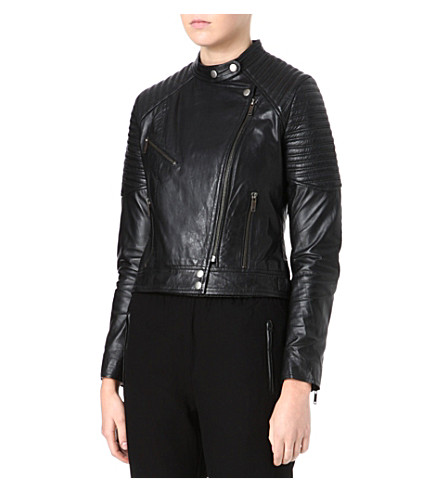 FRENCH CONNECTION Jet leather jacket (Black
