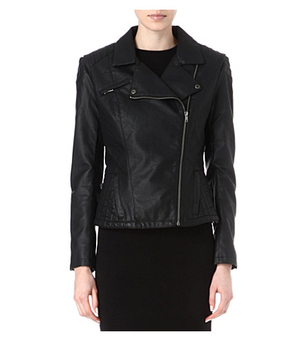 FRENCH CONNECTION Roller girl faux-leather biker jacket (Black