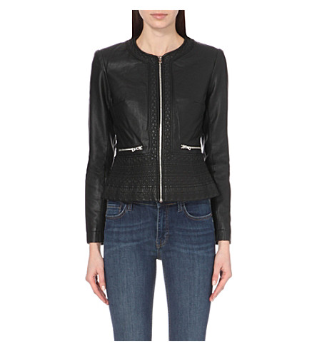 FRENCH CONNECTION Diamond-stitch faux-leather jacket (Black