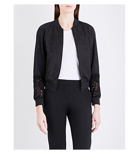 FRENCH CONNECTION Francisco lace-jacquard bomber jacket (Black