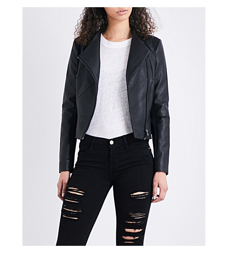 FRENCH CONNECTION Stand-collar faux-leather jacket (Black