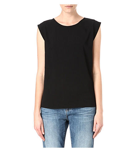 FRENCH CONNECTION Classic Polly Plains cap-sleeved top (Black