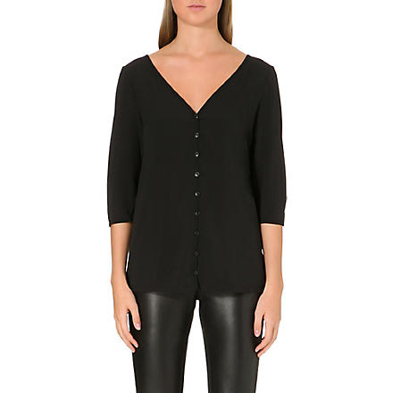 FRENCH CONNECTION Classic Polly Plains button-up top (Black