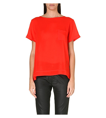 FRENCH CONNECTION Polly Plains pocket top (Havana red
