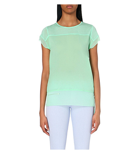 FRENCH CONNECTION Polly raw-edged jersey top (Mint+mojito