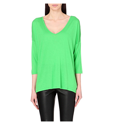 FRENCH CONNECTION Sonny plains slouchy v-neck top (Astro+green