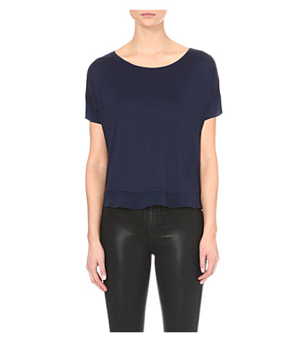 FRENCH CONNECTION Plain french short-sleeved top (Navy