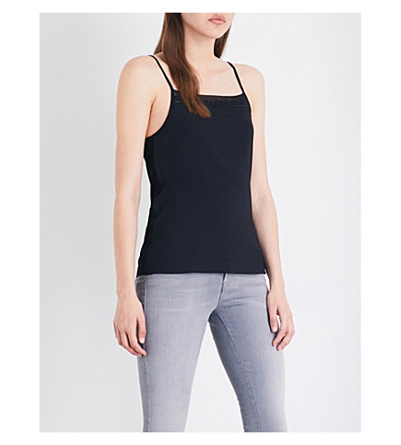 FRENCH CONNECTION Polly Plains chiffon and jersey camisole (Black
