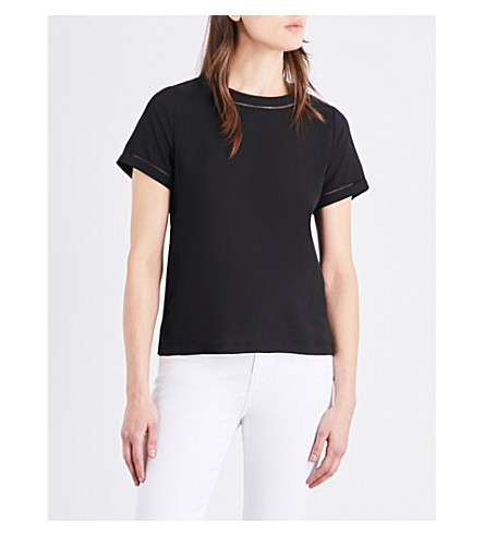 FRENCH CONNECTION Polly crepe and jersey T-shirt (Black