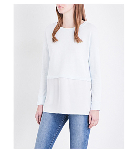 FRENCH CONNECTION Lerato cotton-jersey and crepe-georgette sweatshirt (Freshblue/sumwhite