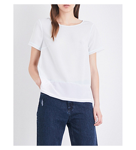 FRENCH CONNECTION Contrasting-back crepe and jersey top